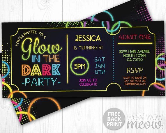 Admit One Ticket Printable Beautiful Glow In the Dark Invitations Tickets Admit E Party Invite