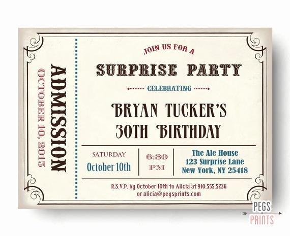 Admit One Ticket Printable Best Of Male Surprise Birthday Invite Surprise Birthday