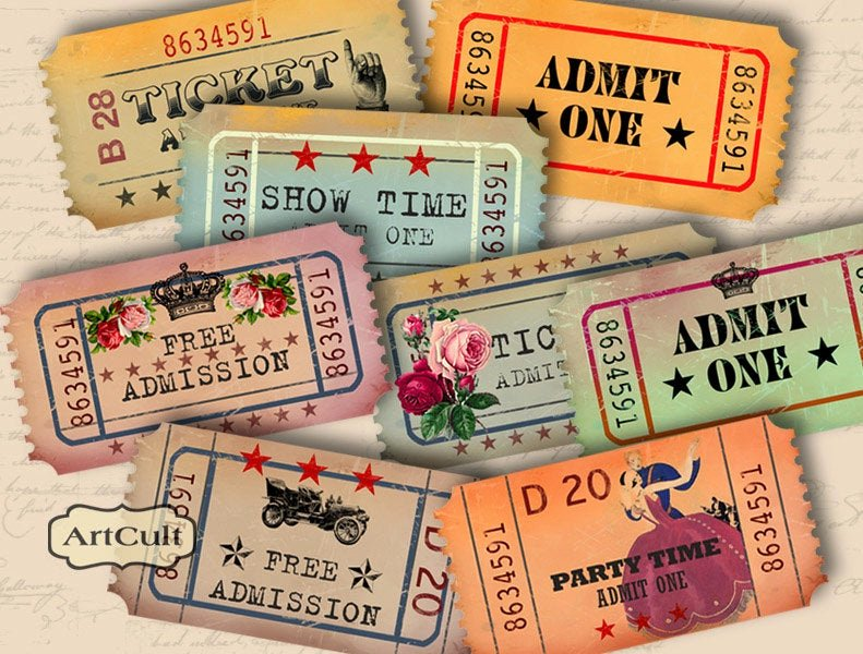 Admit One Ticket Printable Best Of Printable Download Admit One Vintage Style Tickets for