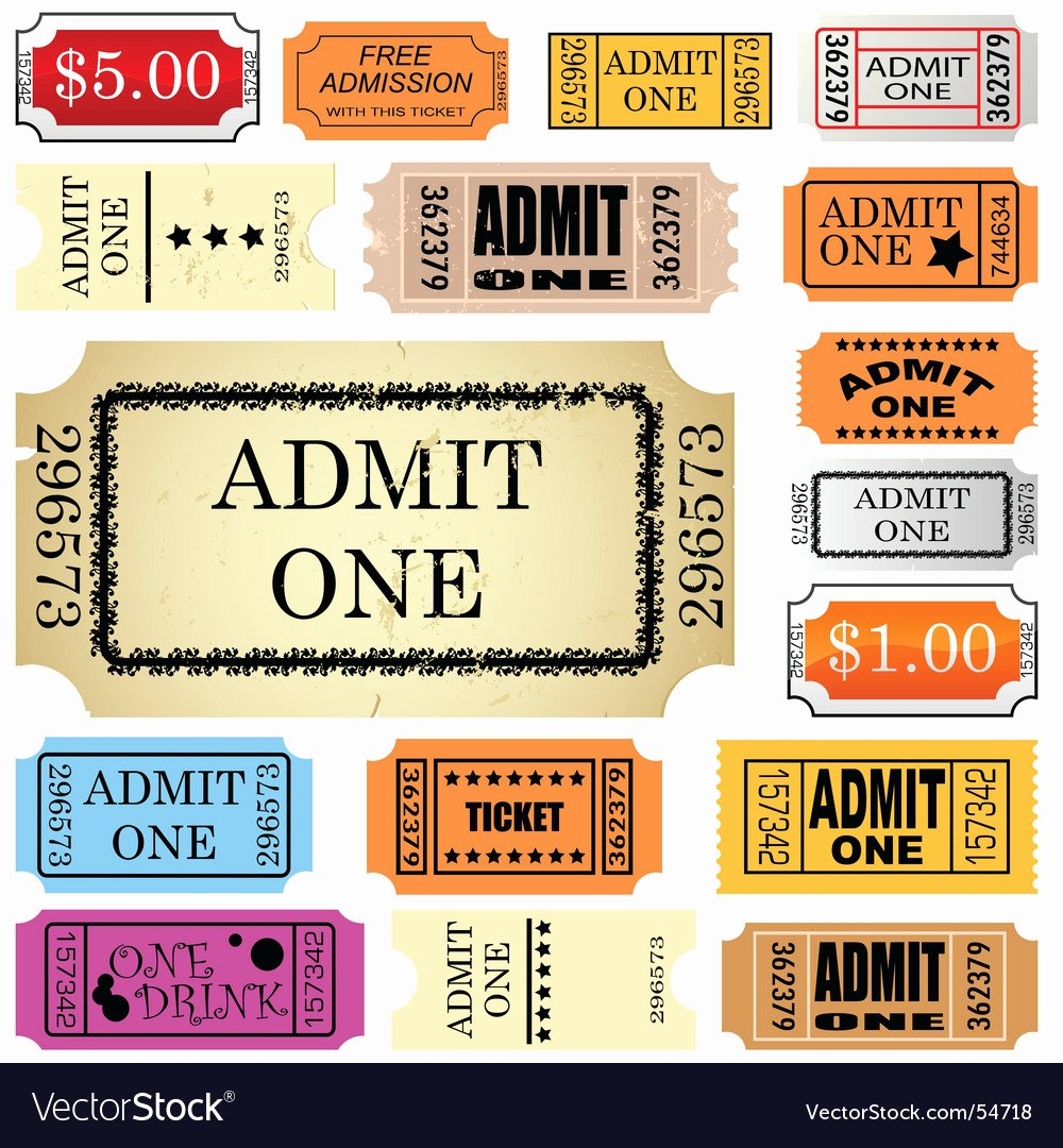 Admit One Ticket Printable Best Of Ticket Admit One Royalty Free Vector Image Vectorstock