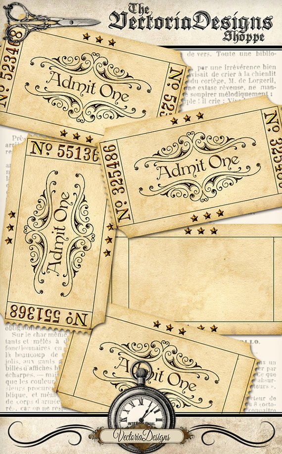 Admit One Ticket Printable Elegant Printable Blank Vintage Tickets Add Text Admit One Printable