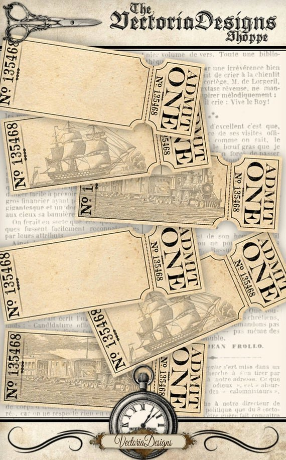 Admit One Ticket Printable Luxury Printable Blank Tickets Add Text Admit One Boat Train