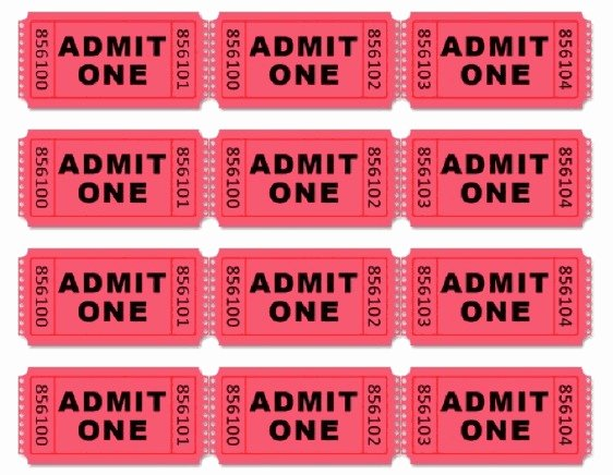 Admit One Ticket Printable New Movie themed Birthday Party Driven by Decor