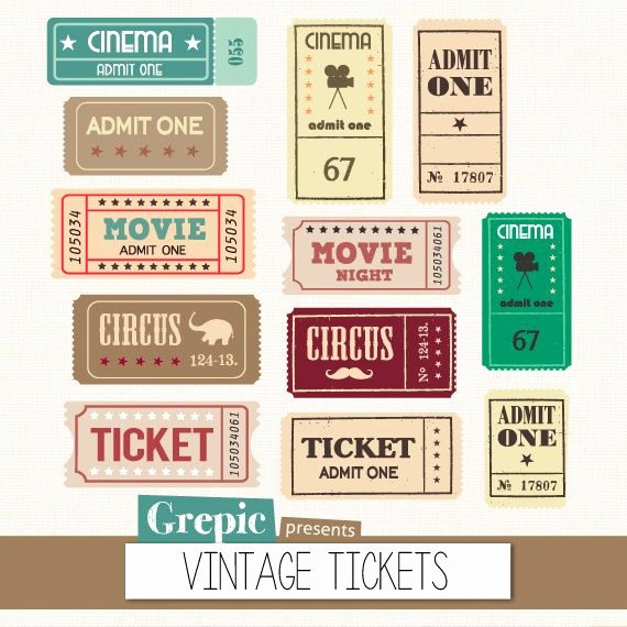 "Admit One Ticket Printable New Tickets Clipart Pack ""vintage Tickets"" with Movie"