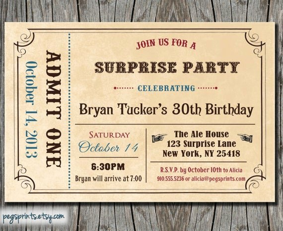Admit One Ticket Printable Unique Adult Surprise Birthday Invite Admit E Ticket by Pegsprints
