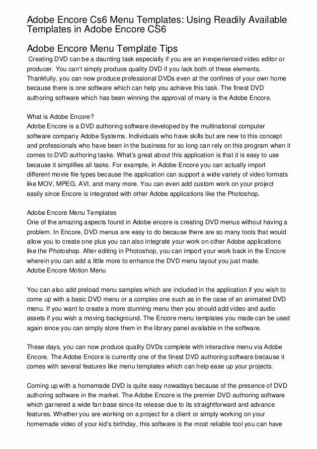 Adobe Encore Templates Lovely Adobe Encore Cs6 Menu Templates Using Readily Available
