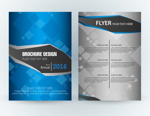 Adobe Illustrator Brochure Template Luxury Flyer Template Design with Squares Vignette Style Free