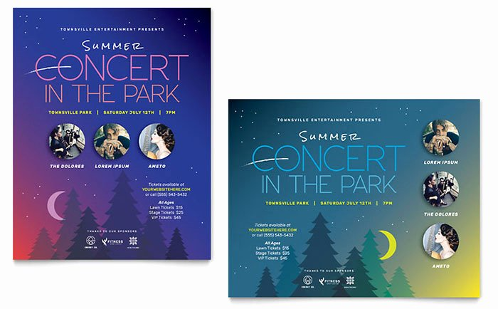 Adobe Illustrator Poster Template Fresh Summer Concert Poster Template Design