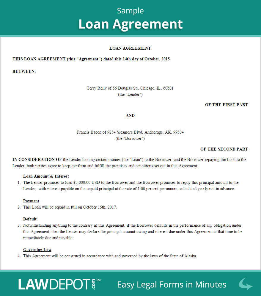 Advance Payment Agreement Letter Awesome Free Loan Agreement Create Download and Print