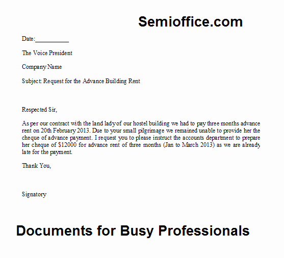 Advance Payment Agreement Letter Elegant Request Letter for the Advance Payment