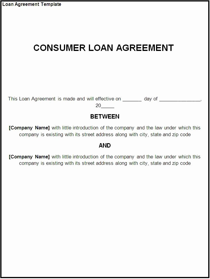 Advance Payment Agreement Letter Fresh Free Printable Loan Template form Generic