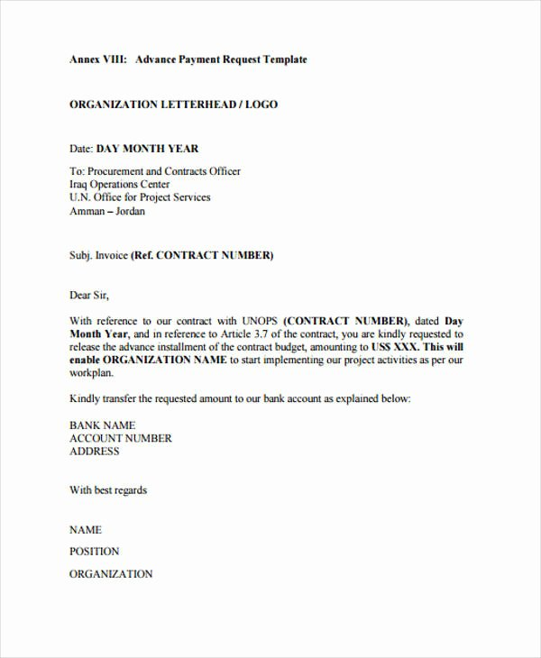 Advance Payment Agreement Letter Lovely 29 Requisition Letter formats Pdf Doc