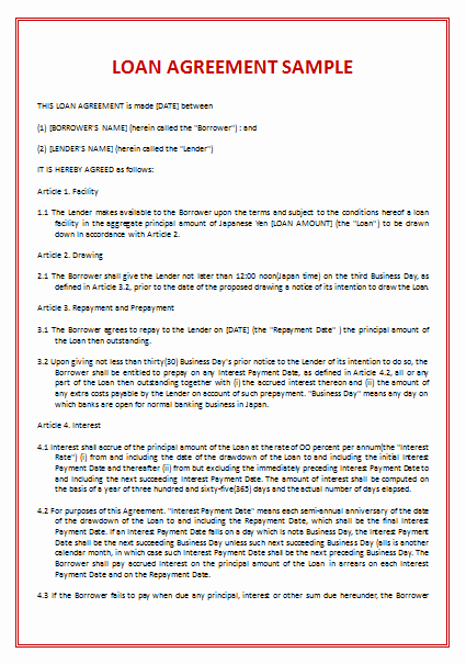 Advance Payment Agreement Letter Luxury 45 Loan Agreement Templates & Samples Write Perfect