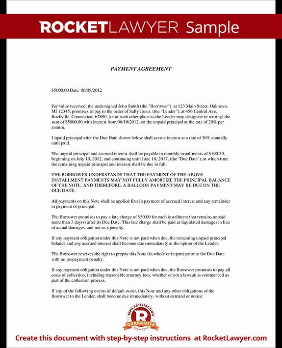 Advance Payment Agreement Letter Unique Installment Agreement Payment Agreement Contract