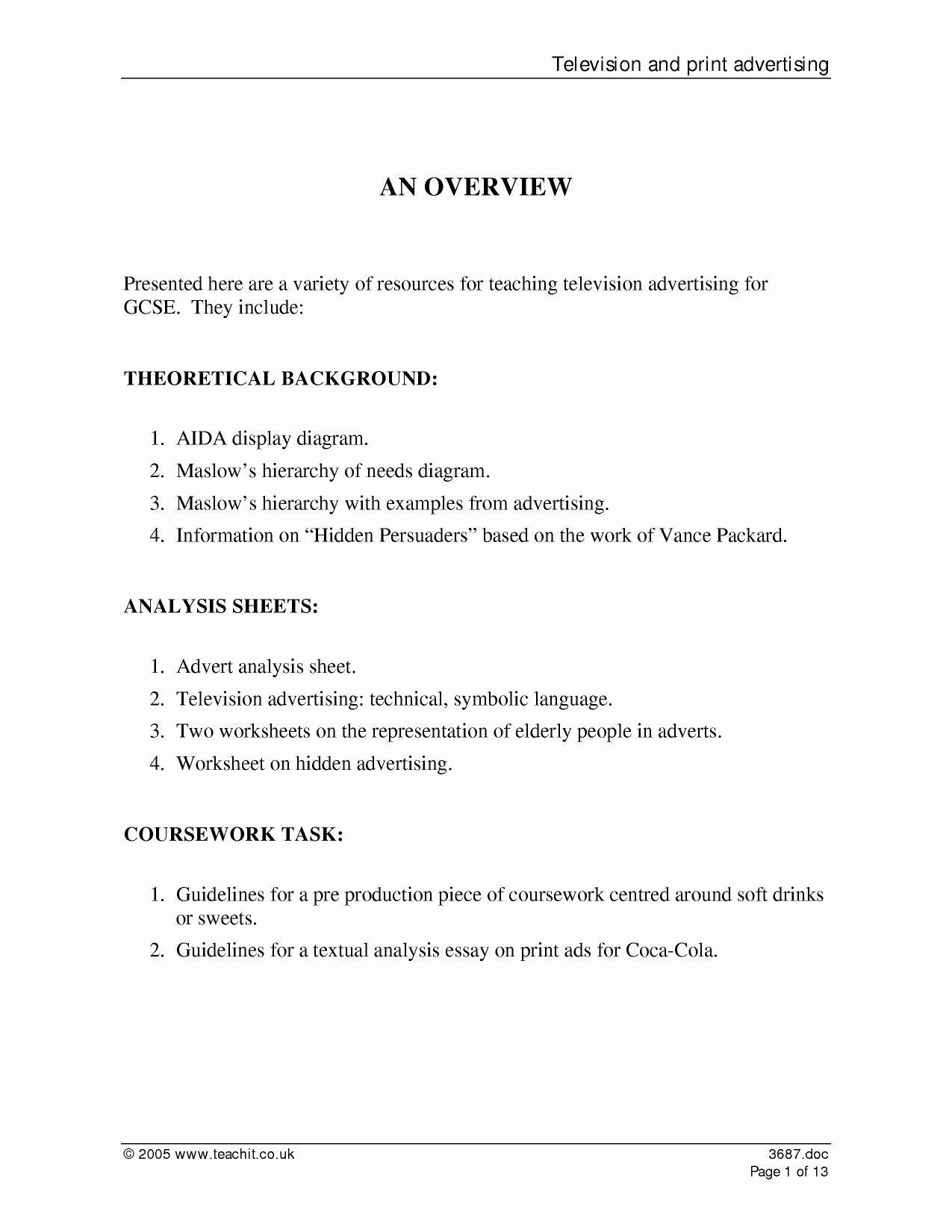 Advertisement Analysis Essay Sample New Television and Print Advertising A Scheme Of Work