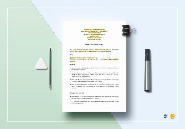 Advertisement Template Google Docs New Advertising Contract Template 15 Pdf Word Google Docs