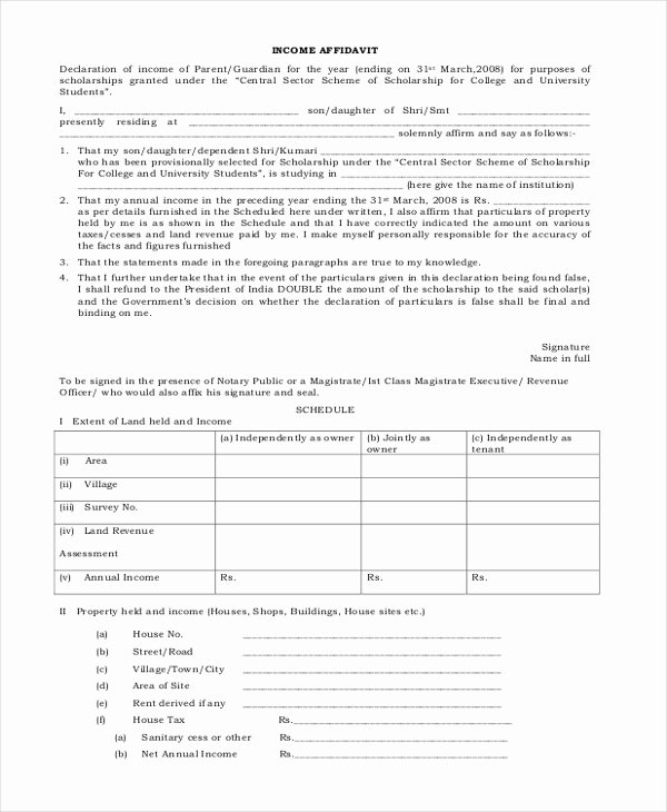 Affidavit Of Income Beautiful Sample Affidavit forms 13 Free Documents In Pdf