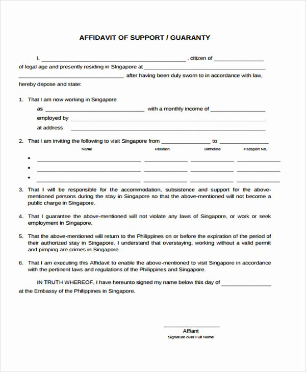 Affidavit Of Income Elegant 9 Affidavit Support form Sample Free Sample Example