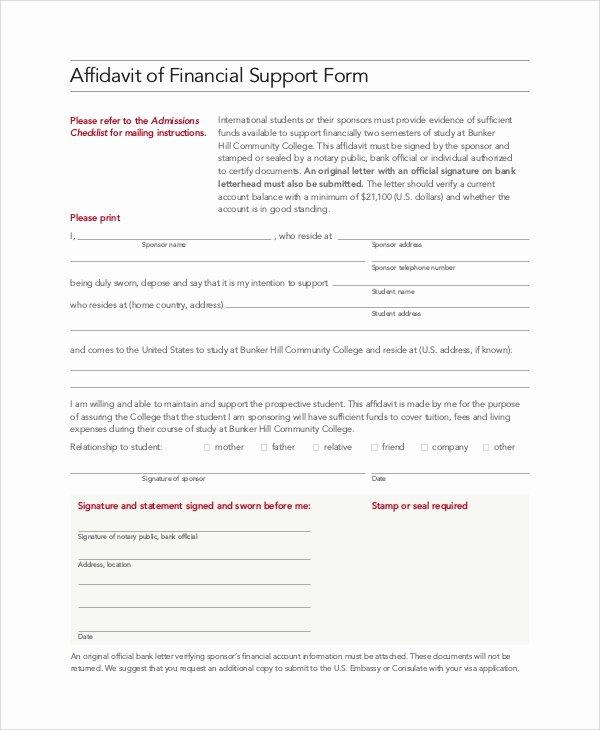 Affidavit Of Income Fresh 8 Affidavit Of Support Samples