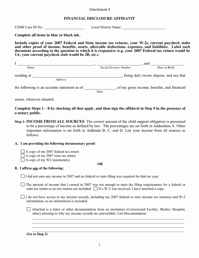 Affidavit Of No Income Beautiful Financial Disclosure Affidavit In Word and Pdf formats