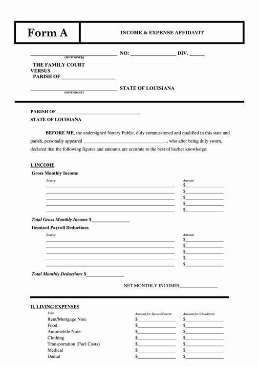 Affidavit Of No Income Fresh Fillable In E & Expense Affidavit Printable Pdf