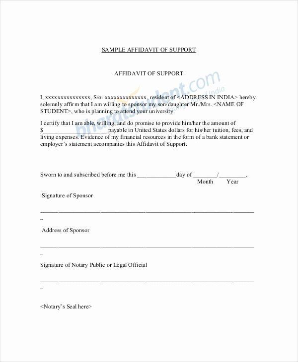 Affidavit Of No Income Lovely 22 Letter Of Support Samples Pdf Doc