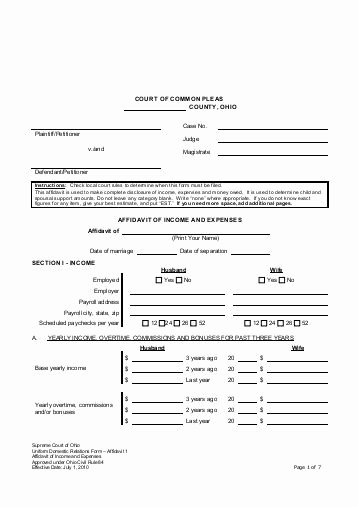 Affidavit Of No Income New In E and Expense Worksheet Independent Enrollment