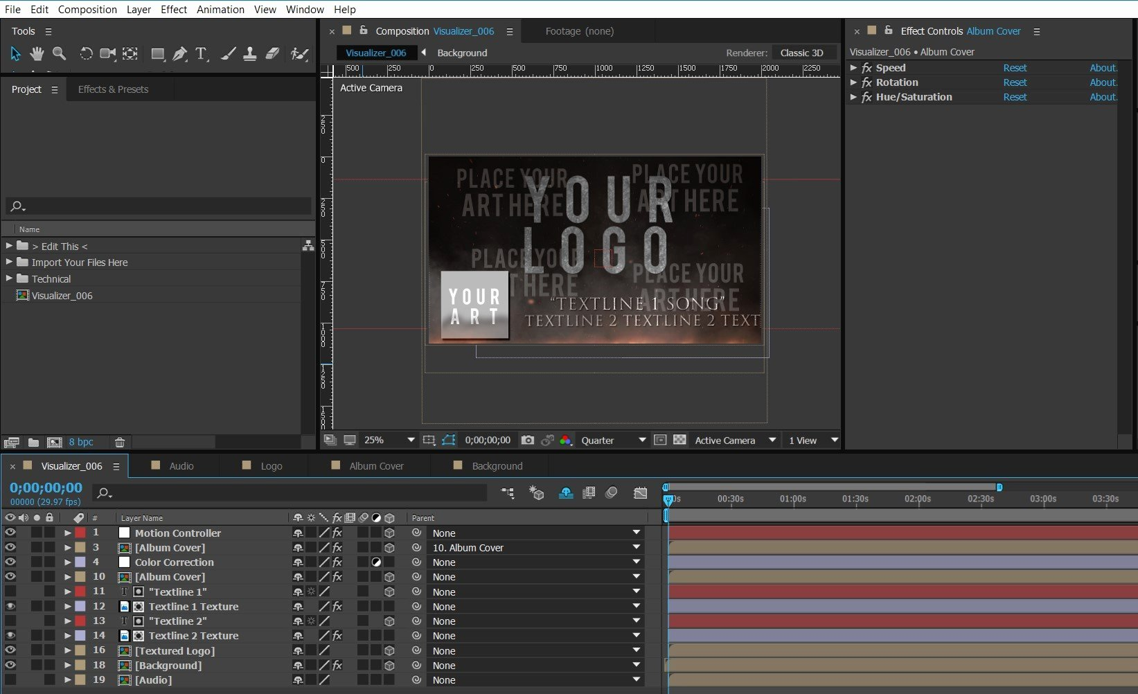 After Effects Lyric Video Template Inspirational 006 Bandlogo Under Fire – Premium Audio Visualizer