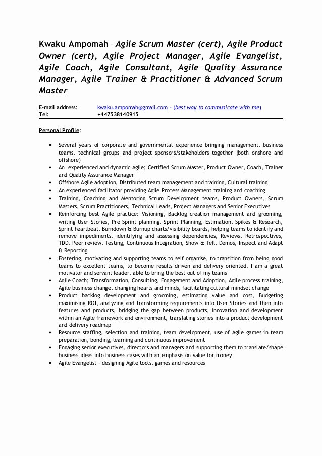 Agile Project Manager Resume Inspirational Kwaku Ampomah Agile Scrum Consultant Cv 1