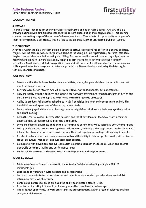 Agile Project Manager Resume Unique Agile Business Analyst Resume