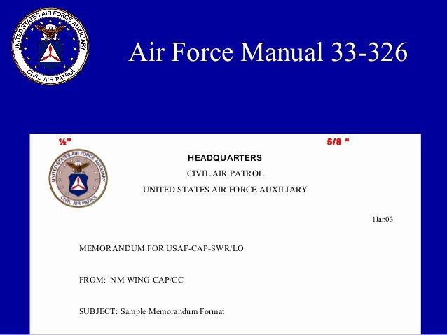 Air force Memorandum Template Elegant Military Style Correspondence