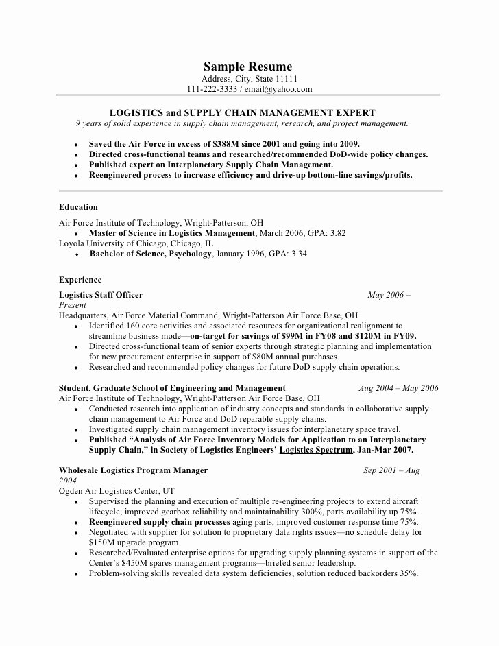 Air force Position Paper Template Fresh A Good Template for Military Resumes