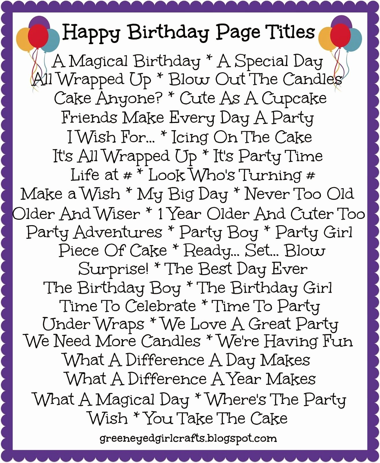 Album Title In Quotes Elegant Birthday Page Titles Aidan