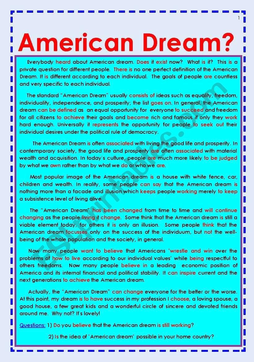 American Dream Essay Conclusion Fresh American Dream Essay for Reading and Discussion Esl