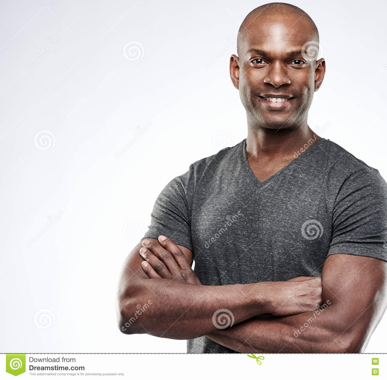 Americanization is tough On Macho Inspirational Handsome Muscular Man with Arms Folded Royalty Free Stock