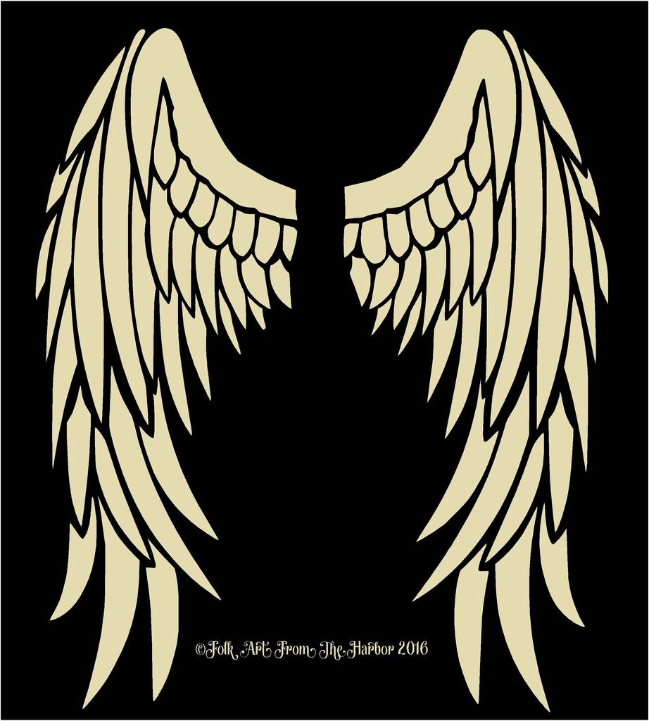 Angel Wing Stencil Printable Fresh Folk Art From the Harbor Banner Shapes Stencils