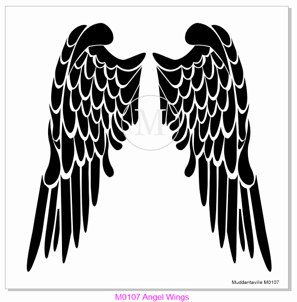 Angel Wing Stencil Printable Luxury M0107 Angel Wings – Muddaritaville Studio