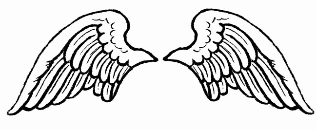 Angel Wing Templates New Angel Wings Black and White Clipart