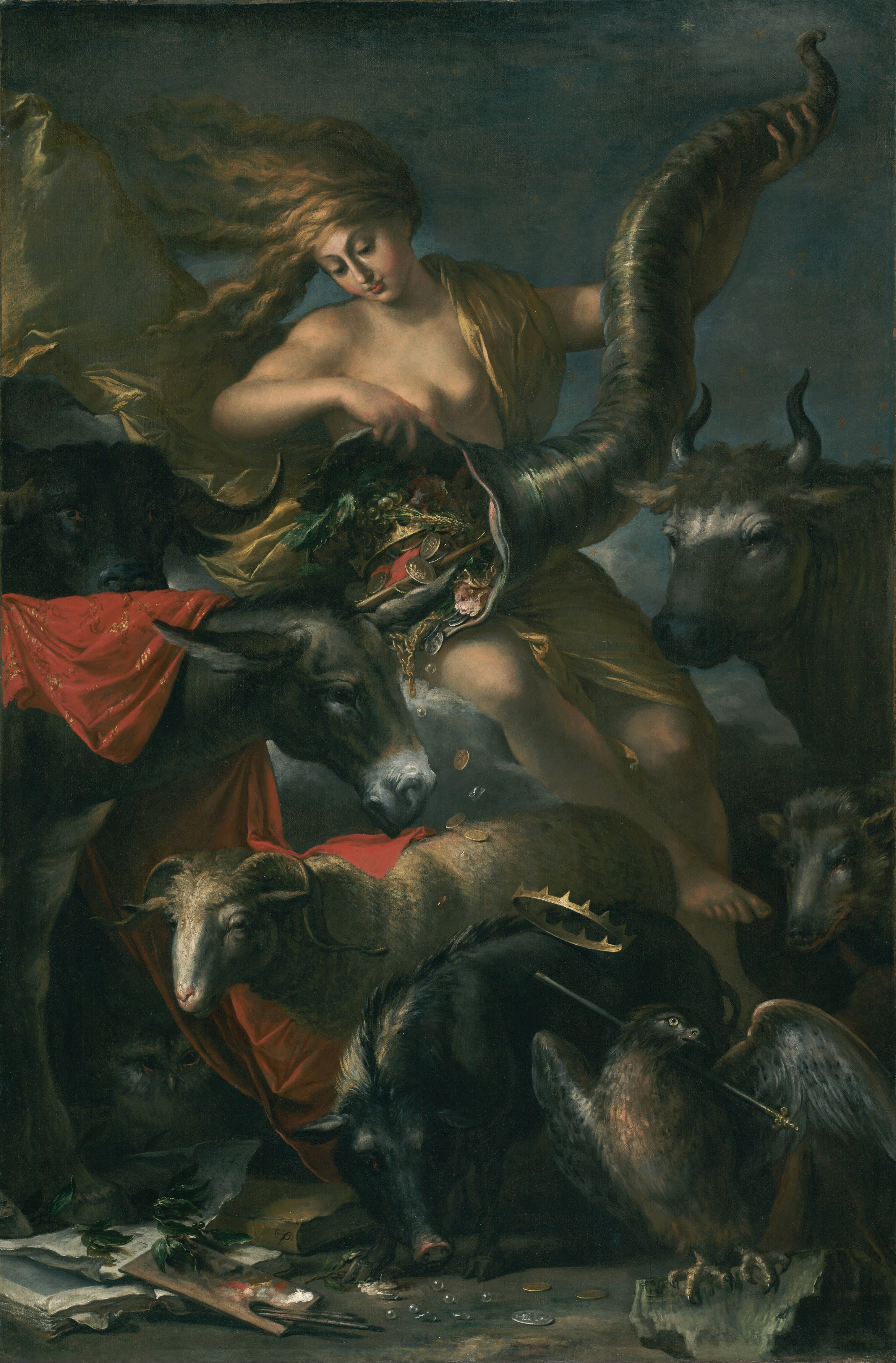 Animal Imagery In the Pearl Lovely Allegory Of fortune La fortuna Salvator Rosa Oil On