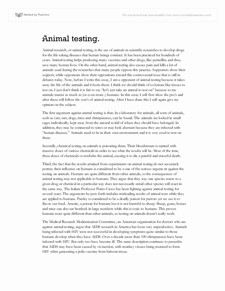 Animal Testing Essay Titles New Animal Testing Essay Gcse Science Marked by Teachers