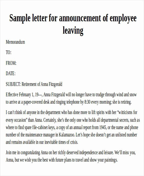 Announcement Of Employee Leaving Company Template Elegant 38 Reference Letter format Samples