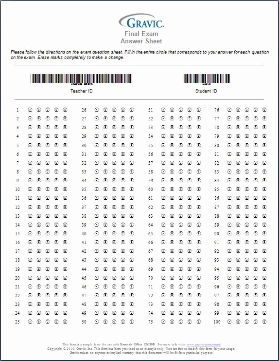 Answer Sheet Template 1-100 Luxury Printable 100 Question Answer Sheet