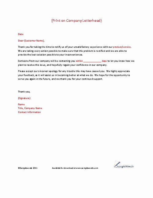 Answer to A Complaint Example Lovely Client Plaint Response Letter Template