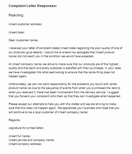 Answer to A Complaint Example Luxury Plaint Letter Response Example Rejecting