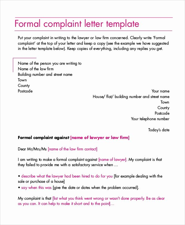 Answer to A Complaint Example Unique 9 Sample Plaint Letters
