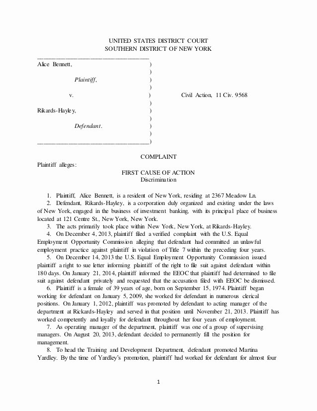 Answer to Civil Complaint Example Elegant Legl Civil Litigation Plaint