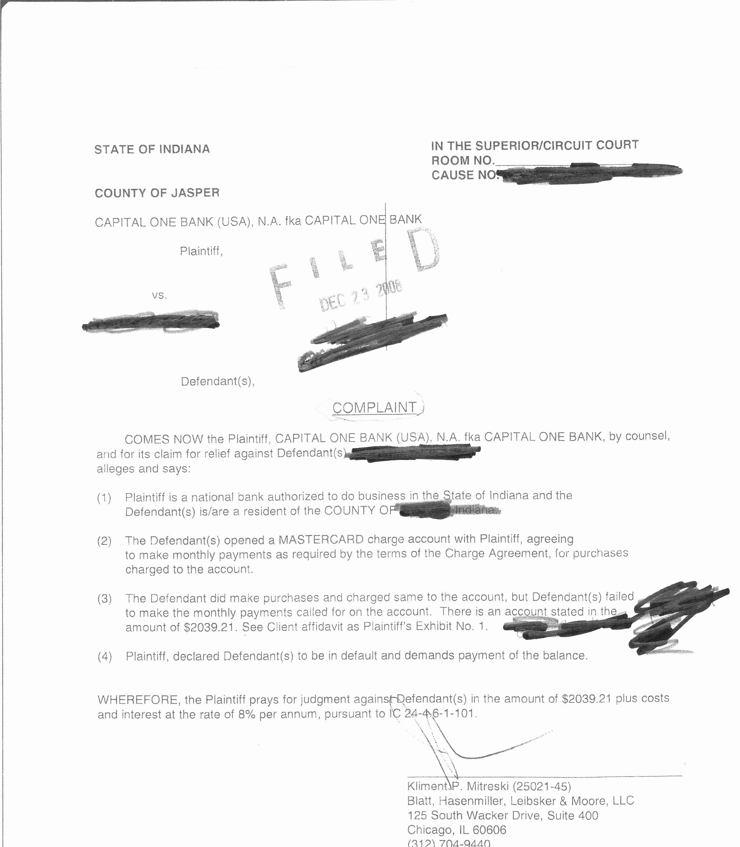 Answer to Civil Complaint Example Fresh Capital E Lawsuit Plaint