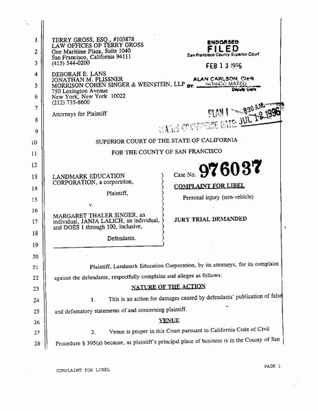 Answer to Civil Complaint Example New File 1996 Landmark V Singer Ca Plaint Pdf Wikimedia