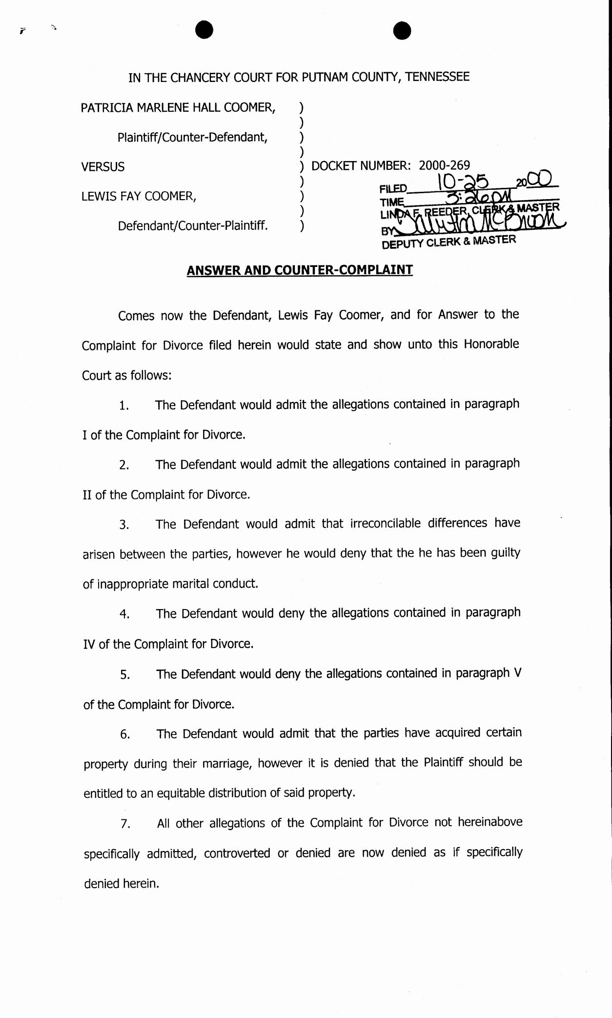 Answer to Civil Complaint Example Unique Best S Of Sample Answer Plaint form Sample Civil