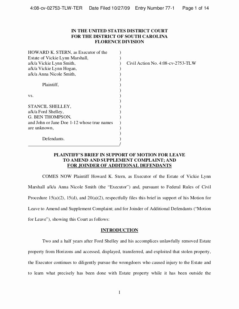 Answer to Civil Complaint Example Unique Memo In Support Motion to Amend and Add Defendants